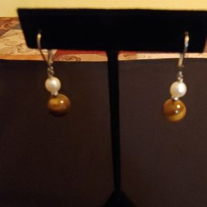 925 sterling pearl & tigers eye earrings